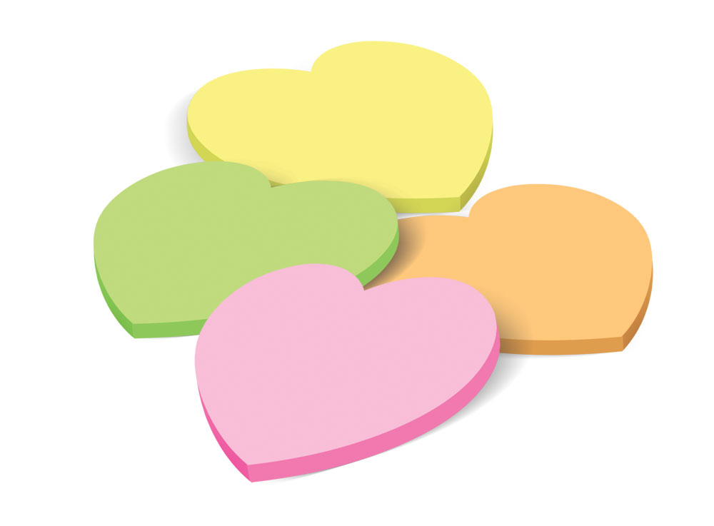 Sticky notes, apple shape, neon pink color